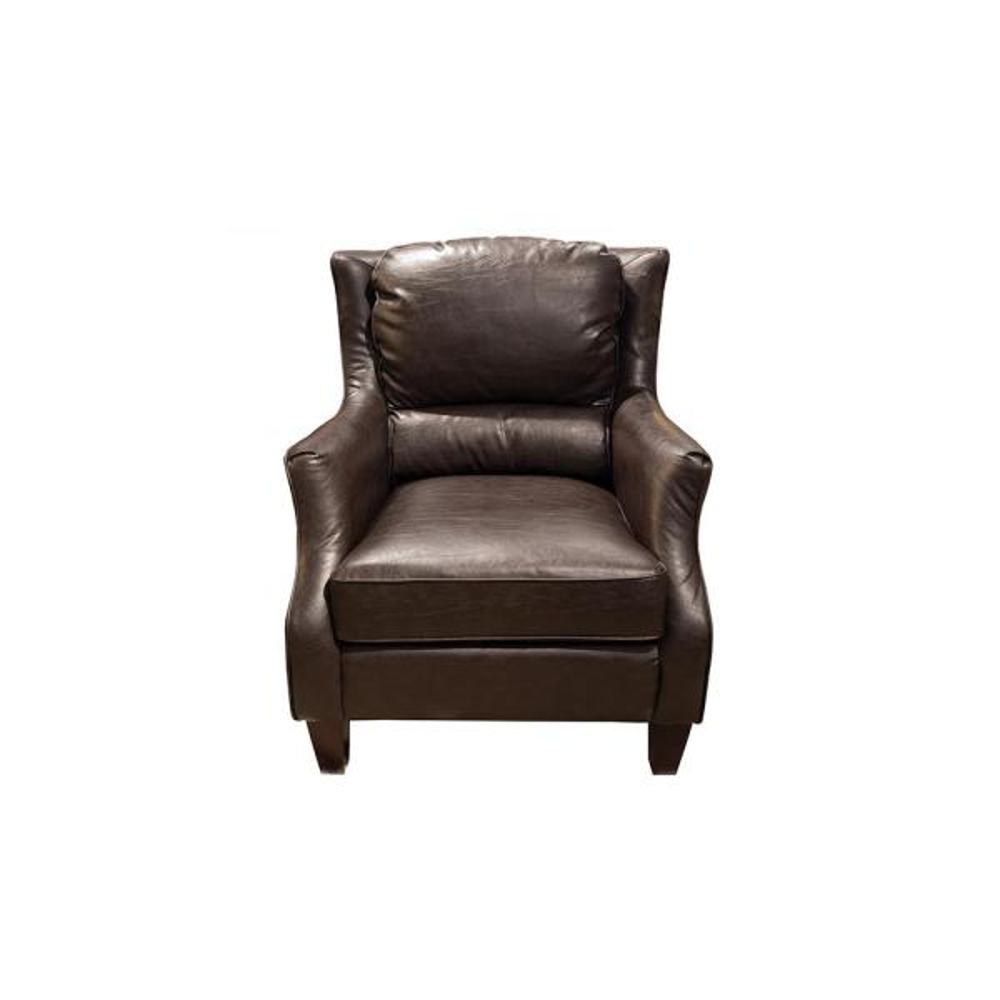 Garnett Transitional Crackle Espresso Brown Leather Accent Chair