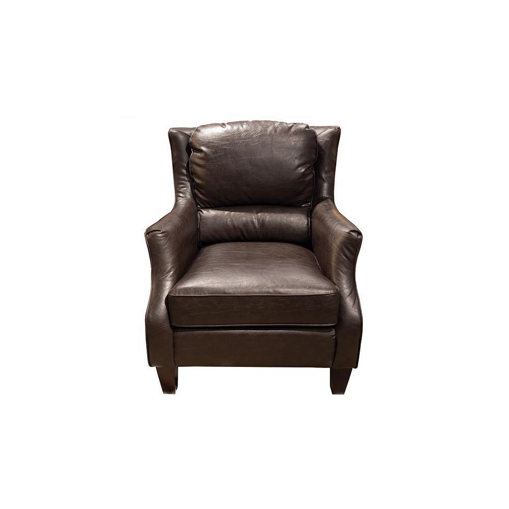 Bon Garnett Transitional Crackle Espresso Brown Leather Accent Chair