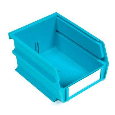 LocBin 5-3/8 in. x 4-1/8 in. x 3 in. Stacking, Hanging, Interlocking Polypropylene Bin in Teal (24-Piece)