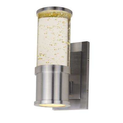 Pillar 2-Light Brushed Aluminum Integrated LED Outdoor Wall Lantern Sconce