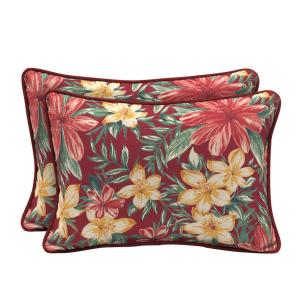 22 x 15 Ruby Clarissa Tropical Reversible Oversized Lumbar Outdoor Throw Pillow (2-Pack)