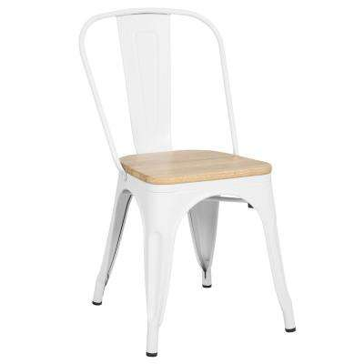 White Trattoria Side Chair in with Oak Seat