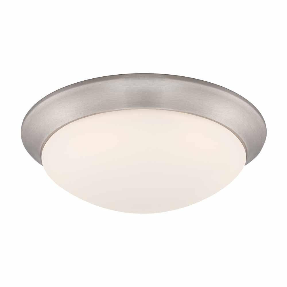Commercial Electric 11 In 120 Watt Equivalent Brushed Nickel Integrated Led Flushmount With Frosted