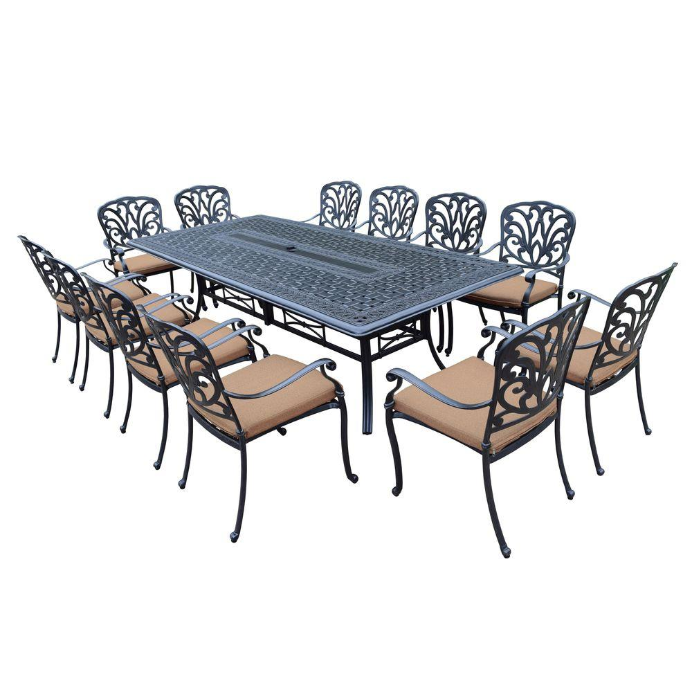 Captivating Oakland Living 13 Piece Aluminum Patio Dining Set With Sunbrella Dark Brown  Cushions