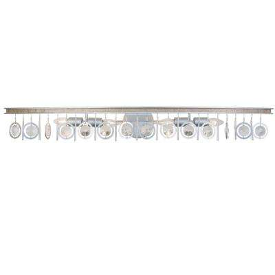 Charmed 4-Light Silver with Champagne Mist Bath Light with Clear Crystal Beads