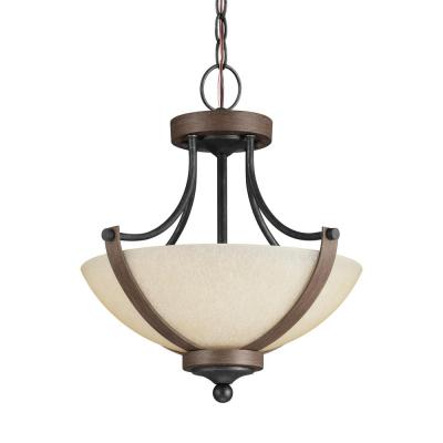 Corbeille 15 in. W. 2-Light Weathered Gray and Distressed Oak Semi-Flush Mount Convertible Pendant with LED Bulbs