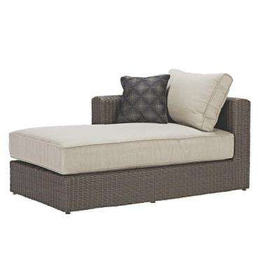 Naples All-Weather Dark Wicker Patio Right Arm Sectional Chaise with Putty Cushions