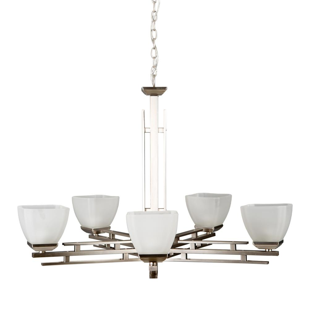 Half Dome 5-Light Satin Nickel Hanging Chandelier with White Frosted Glass