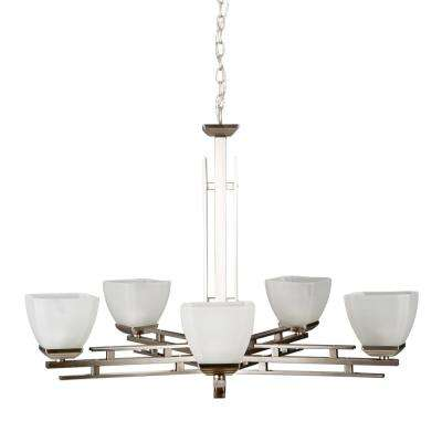 Half Dome 5-Light Satin Nickel Hanging Chandelier with White Frosted Glass Shade