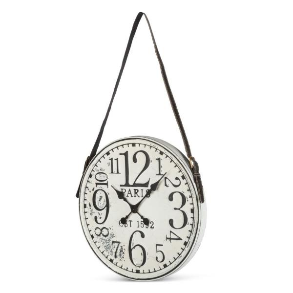 18.7 in. Diameter Battery-Operated White Washed Clock