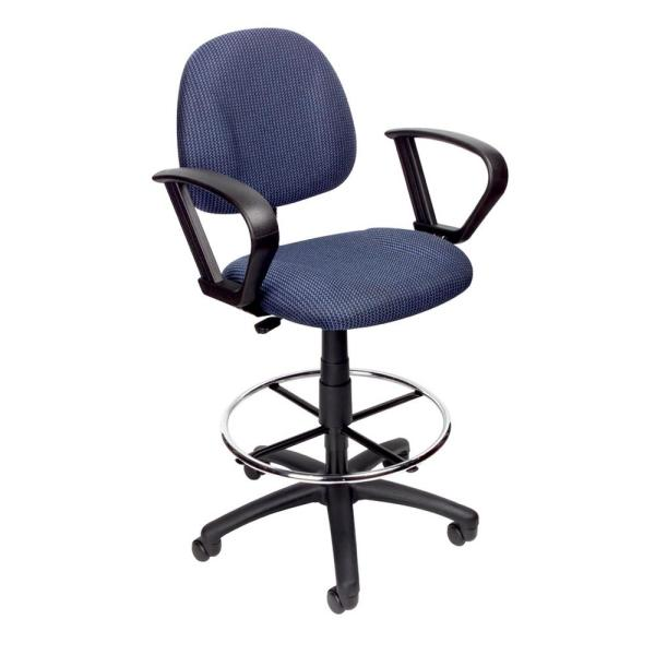 Boss Blue Drafting Stool with Loop Arms