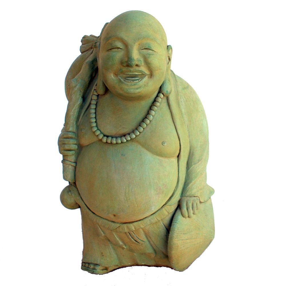 Cast Stone Traveling Buddha Garden Statue   Weathered Bronze
