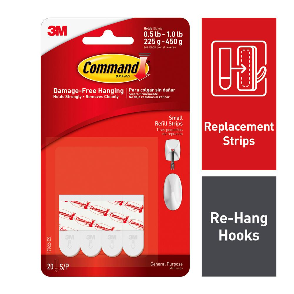 Command 1.125 in. Small White Refill Strips (20-Pack)