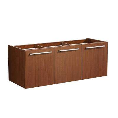 Vista 47 in. Modern Wall Hung Bath Vanity Cabinet Only in Teak