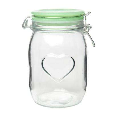 Valentina 40 oz. Glass Hermetic Preserving Canister with Jadeite Lid