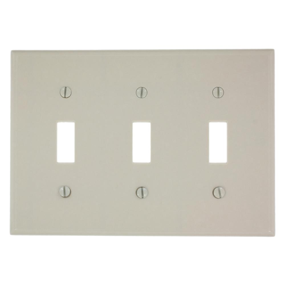 3-Gang Toggle Switch Wall Plate, Light Almond