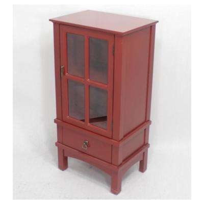 Shelly Assembled Red Wood 18 in. x 18 in. x 13 in. Glass Accent Cabinet with a Door