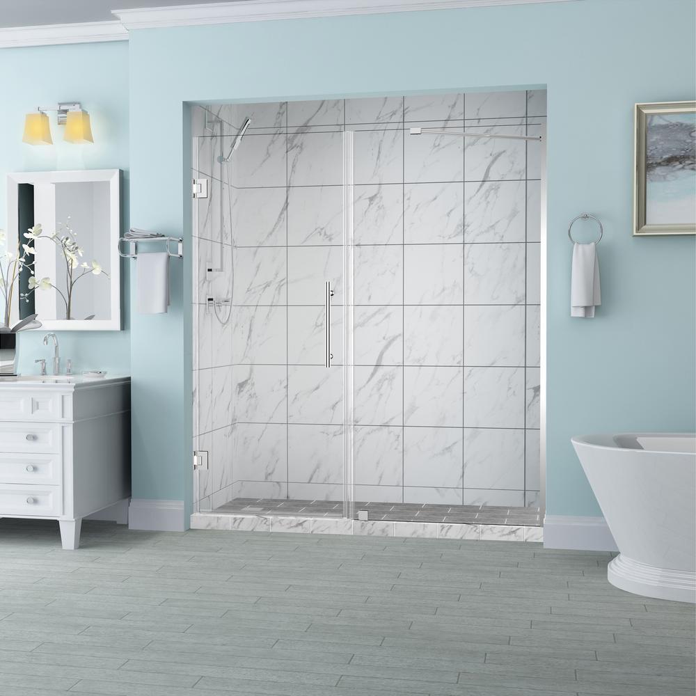 Belmore 70.25 in. to 71.25 in. x 72 in. Frameless Hinged Shower Door in Chrome