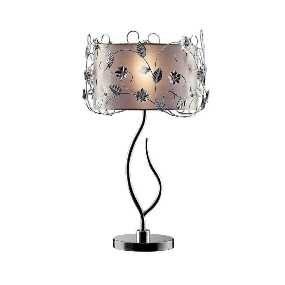 ORE International 34 in. Silver Crystal Table Lamp