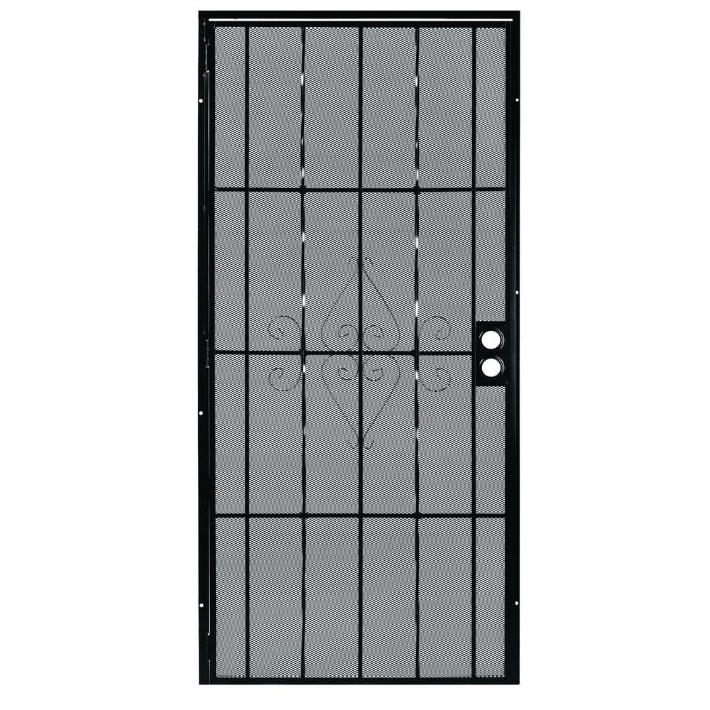 First Alert 30 in. x 80 in. Laguna Steel Black Prehung Security Door