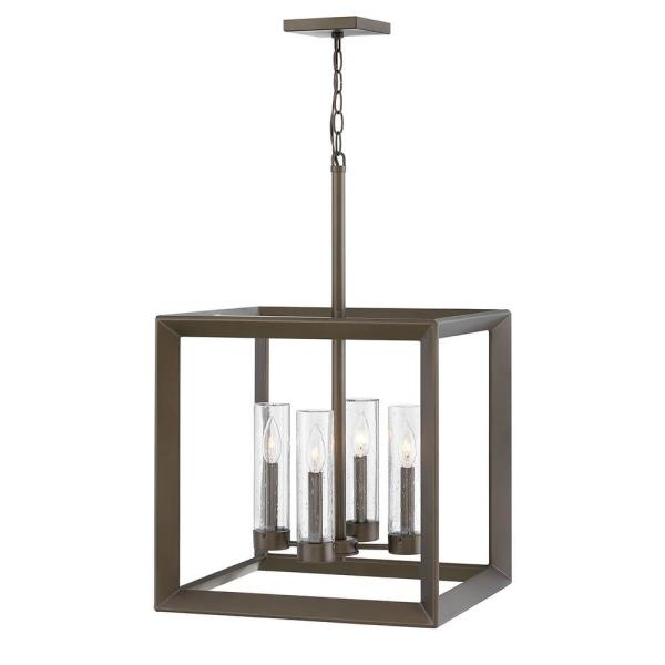Rhodes 4-Light Warm Bronze Low Voltage Outdoor Single Tier Chandelier