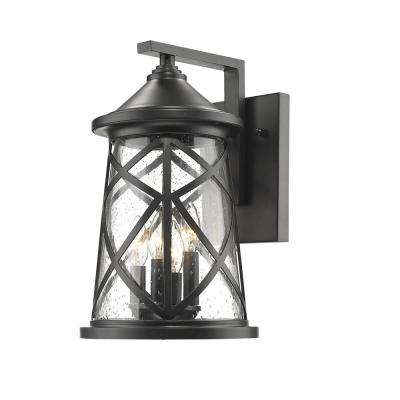 4-Light 16-1/4 in. High Powder Coated Black Outdoor Wall Lantern Sconce with Glass Shade