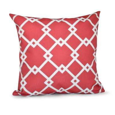 16 in. x 16 in. Chain Link Geometric Pillow in Coral