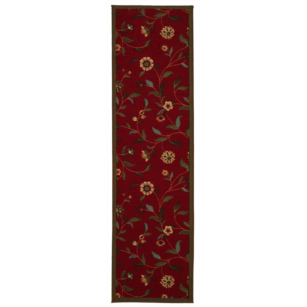 Ottohome Collection Floral Garden Design Dark Red 2 ft. x 5 ft. Non-Skid Runner Rug