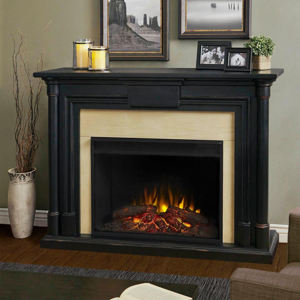 Augment traditional appearance of your dwelling by choosing this Maxwell Grand Series Electric Fireplace in Black Wash from Real Flame.