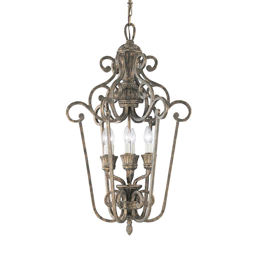 Highlands 21.75 in. W. 6-Light Regal Bronze Hall-Foyer Pendant
