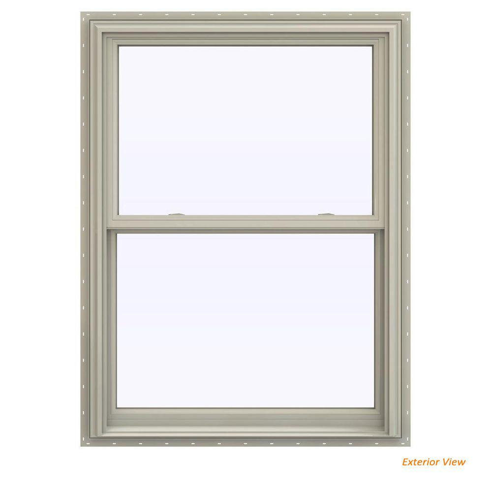 JELD-WEN 35.5 in. x 53.5 in. V-2500 Series Desert Sand Vinyl Double Hung Window with BetterVue Mesh Screen