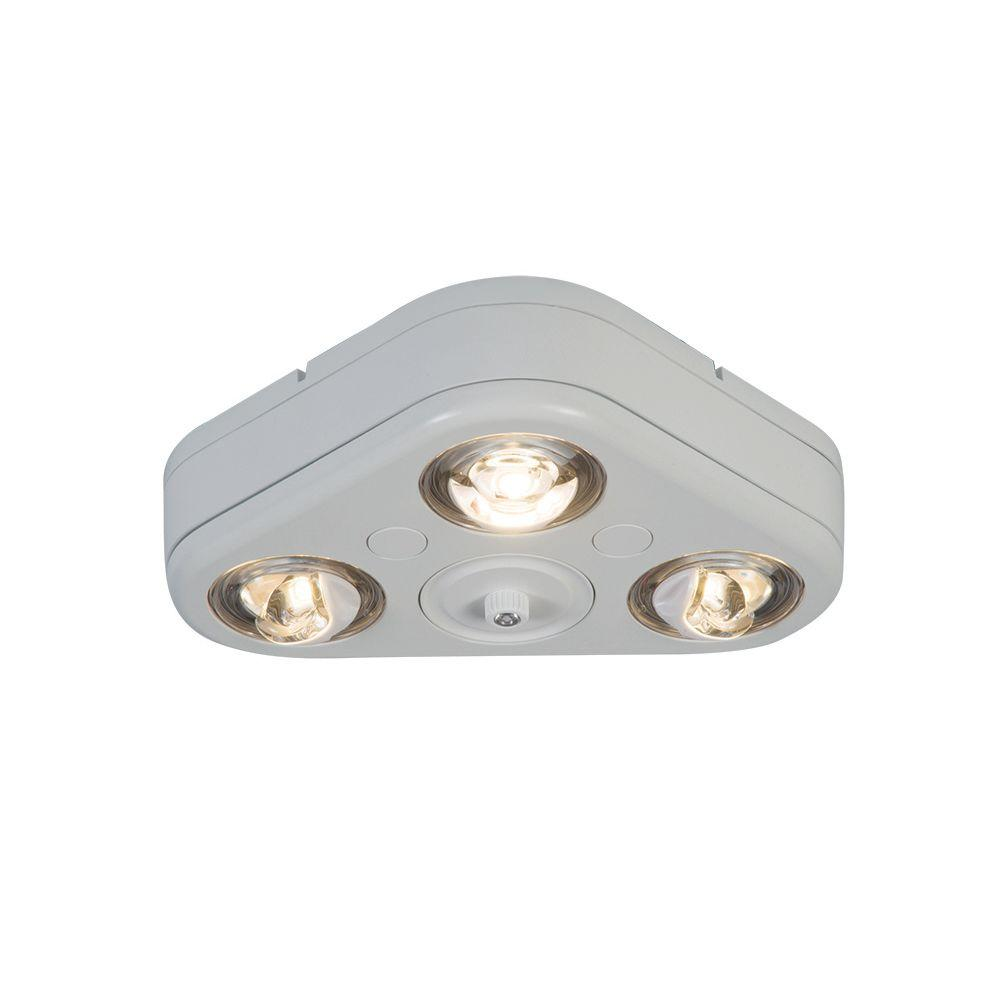 Revolve White Outdoor Integrated LED Triple Head Security Flood Light with