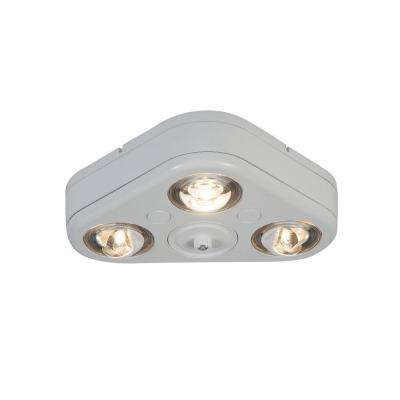 Revolve White Outdoor Integrated LED Triple Head Security Flood Light with Dusk to Dawn Photocell, 3500K Bright White