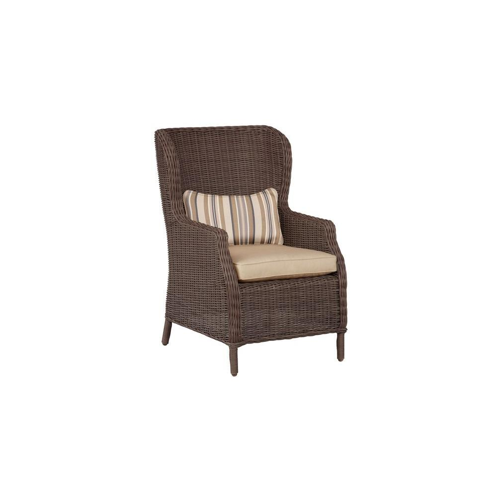 Vineyard Patio Cafe Chair in Harvest with Terrace Lane Lumbar Pillow