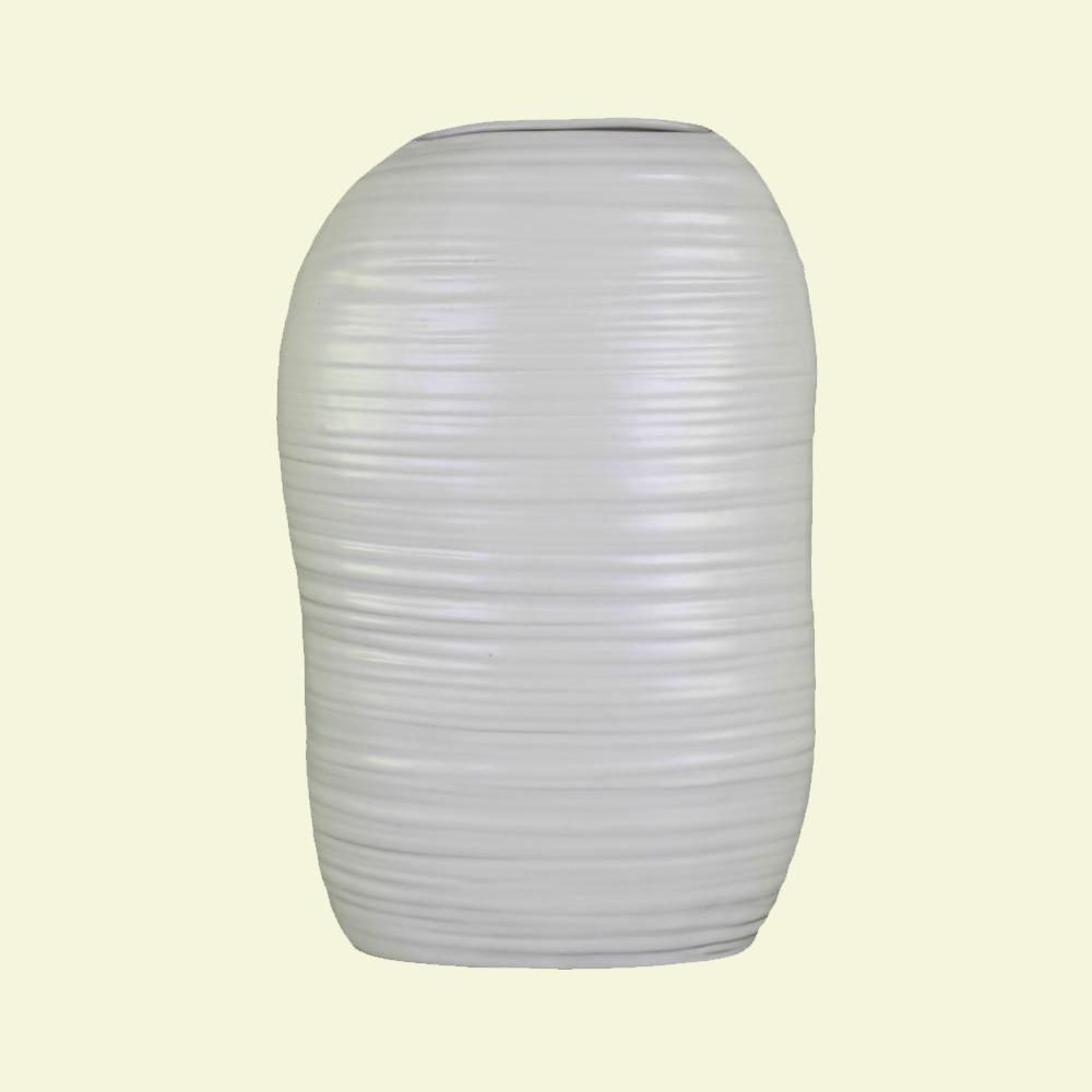 White Coated Ceramic Decorative Vase