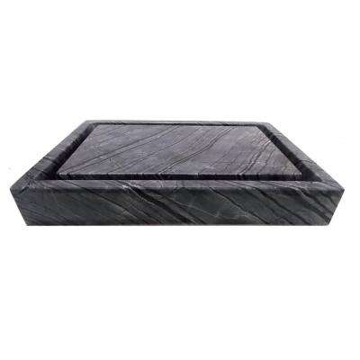 Rectangular Infinity Pool Vessel Sink in Polished Wooden Black Marble