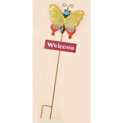 35 in. Metal Butterfly Garden Stake With Pink Welcome Sign