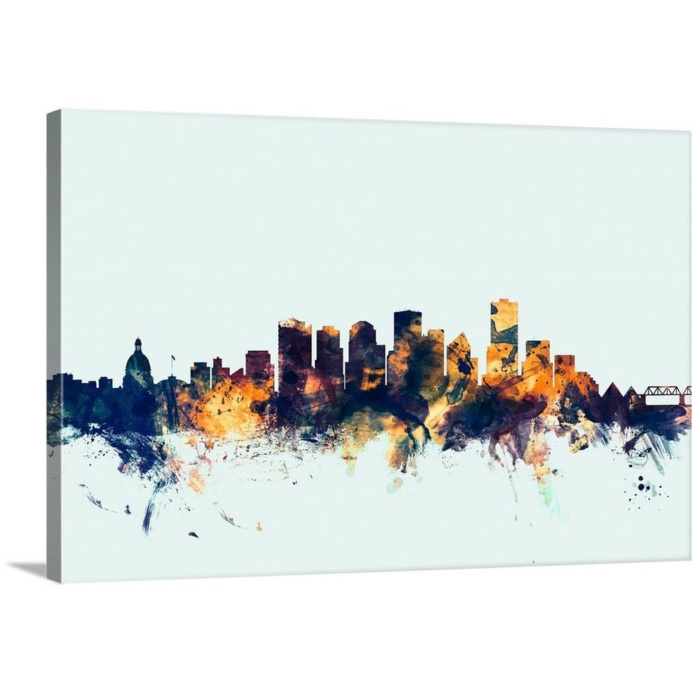 Edmonton Canada Skyline By Michael Tompsett Canvas Wall Art