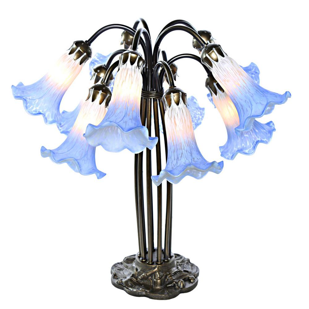 Charmant Blue And White Hand Painted Table Lamp With 10