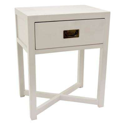 24 in. White Side Table with 1-Drawer