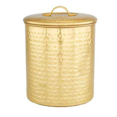 6-3/4 in. x 8-1/2 in. Decor Champagne Hammered Storage Canister