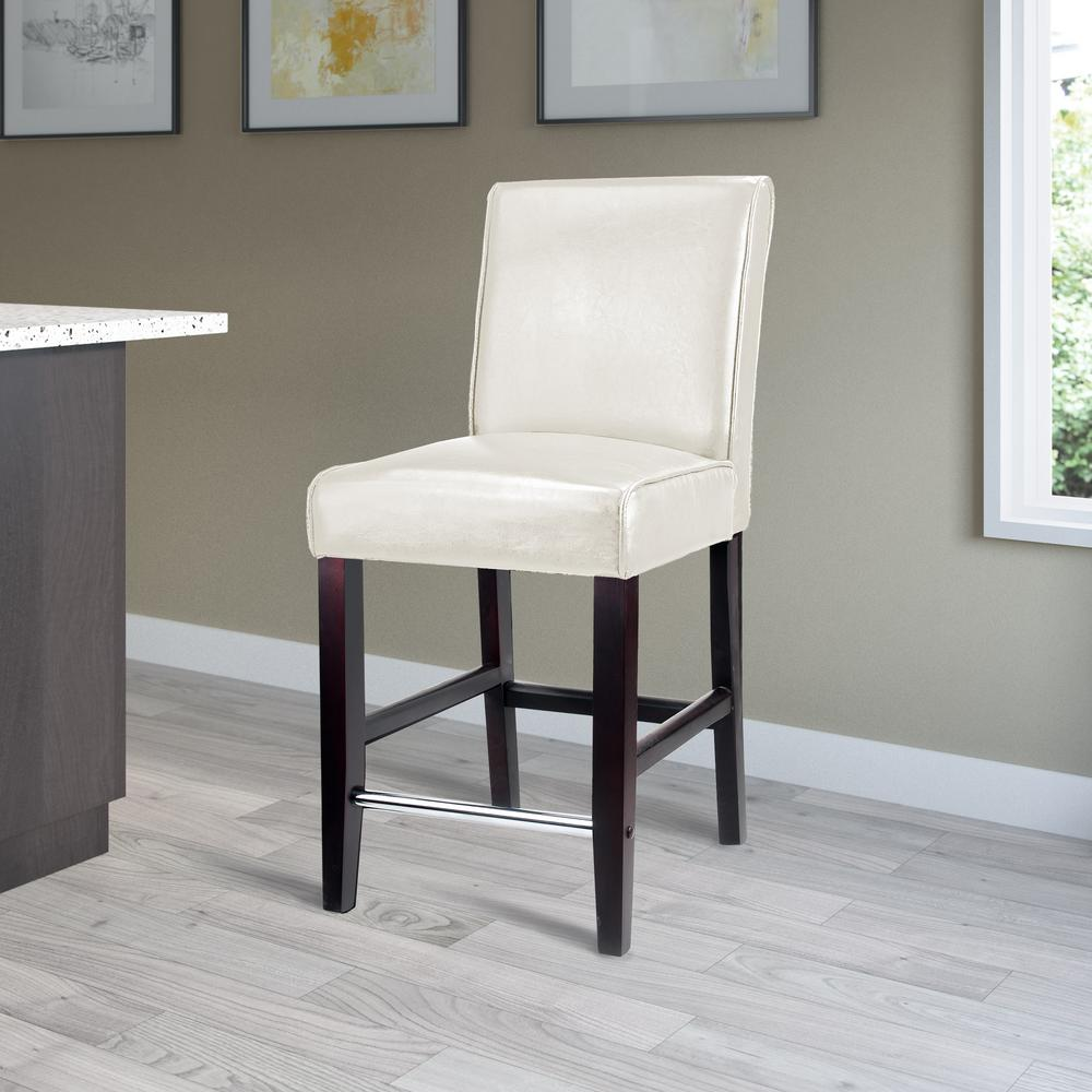 White Bonded Leather Bar Stool