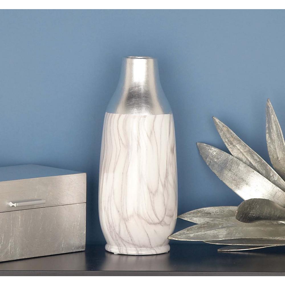 15 in. Urn Multi Ceramic Decorative Vase in Marbling