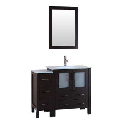 42 in. W Single Bath Vanity with Tempered Glass Vanity Top in White with White Basin and Mirror