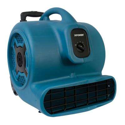 3/4 HP 3200 CFM 3 Speed Air Mover Carpet Dryer Floor Fan Blower with Telescopic Handle and Wheels