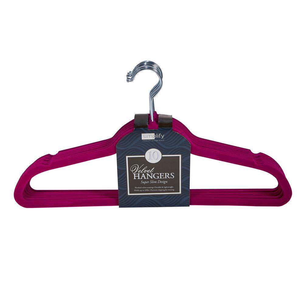 Fuchsia Super Slim Velvet Huggable Hangers (10-Pack)
