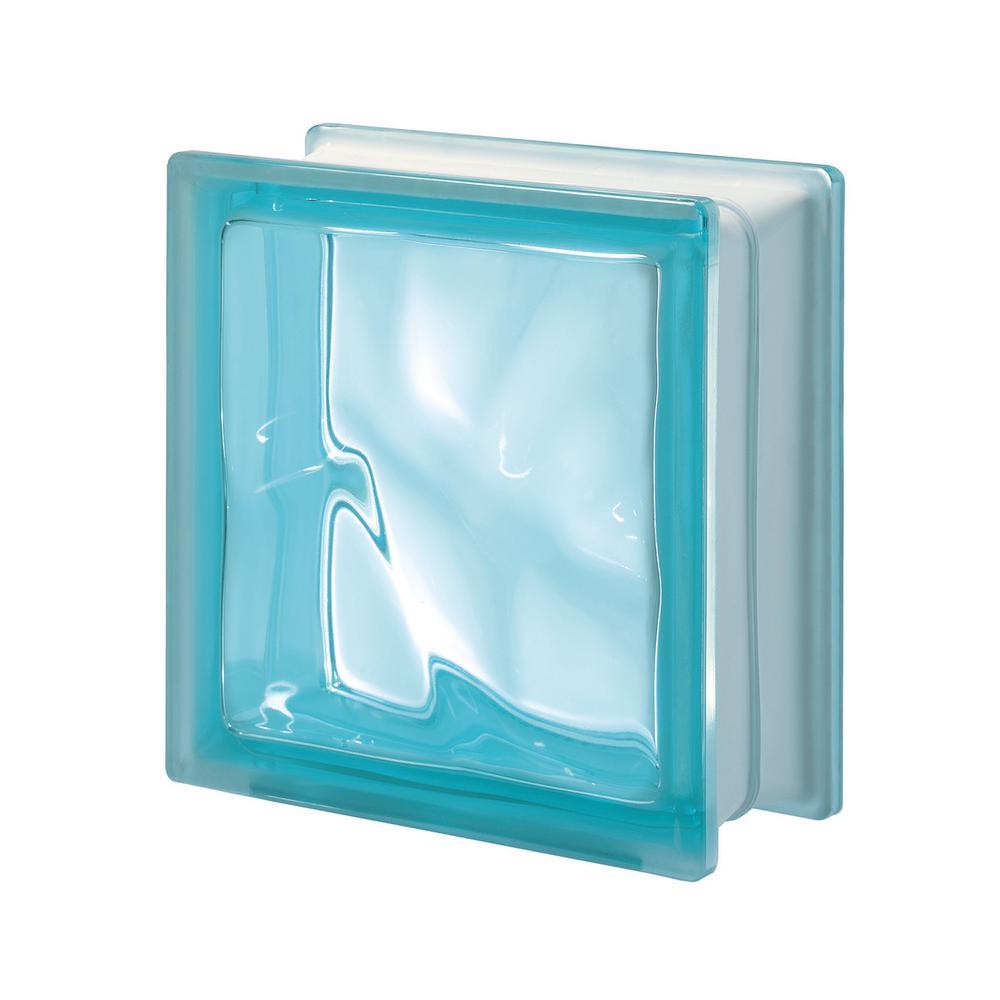 Pegasus Aquamarina Q19 7.48 in. x 7.48 in. x 3.15 in. Wavy Glass Block (5-Pack)