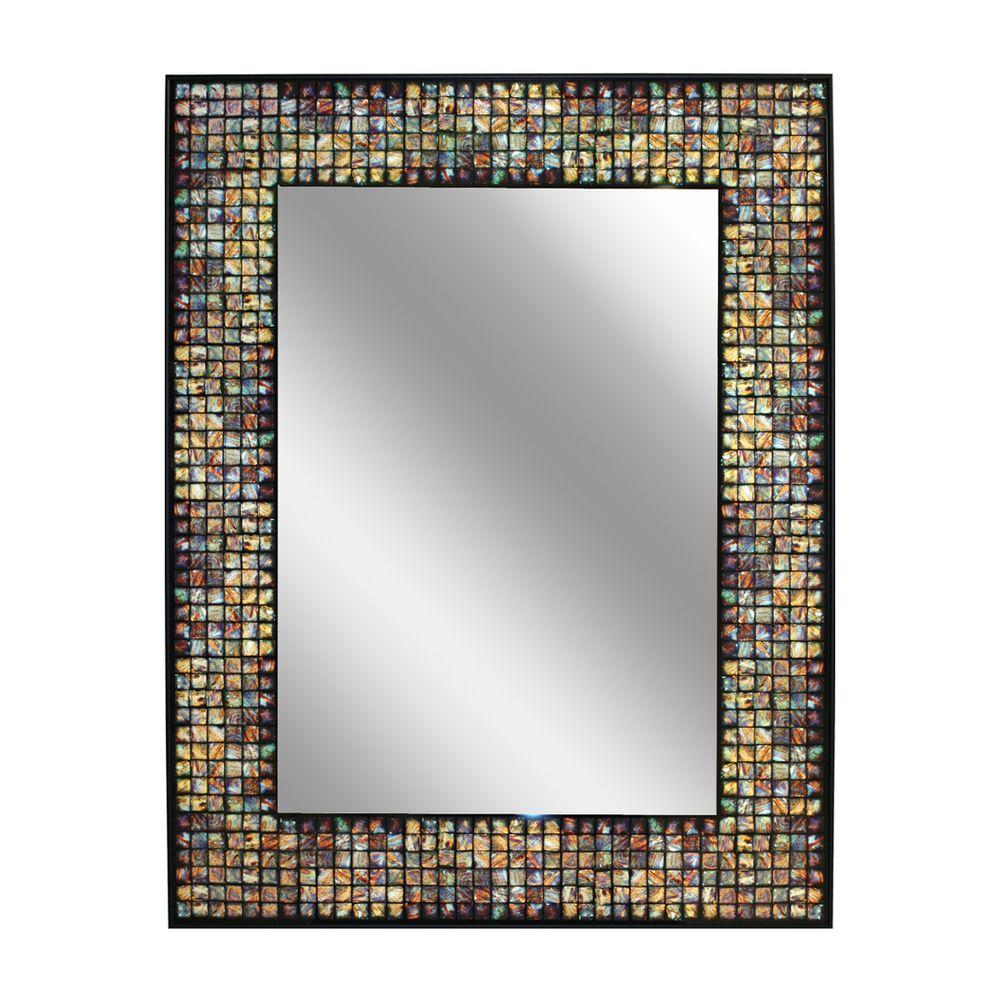 Deco Mirror 22 in. x 28 in. Metallic Tile Rectangle Mirror in Black