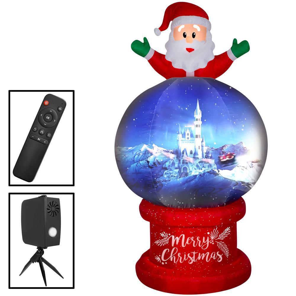 8.5 ft. Pre-lit Living Projection Santa on Globe Airblown Scene