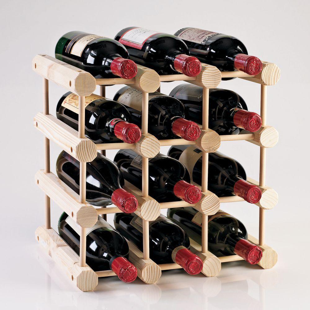 Modular 12-Bottle Wine Rack in Natural